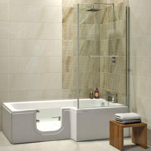 Badewanne mit Duschaufsatz und Tür Solarna